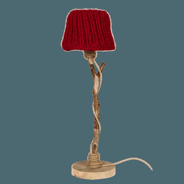 houten tafellamp rood